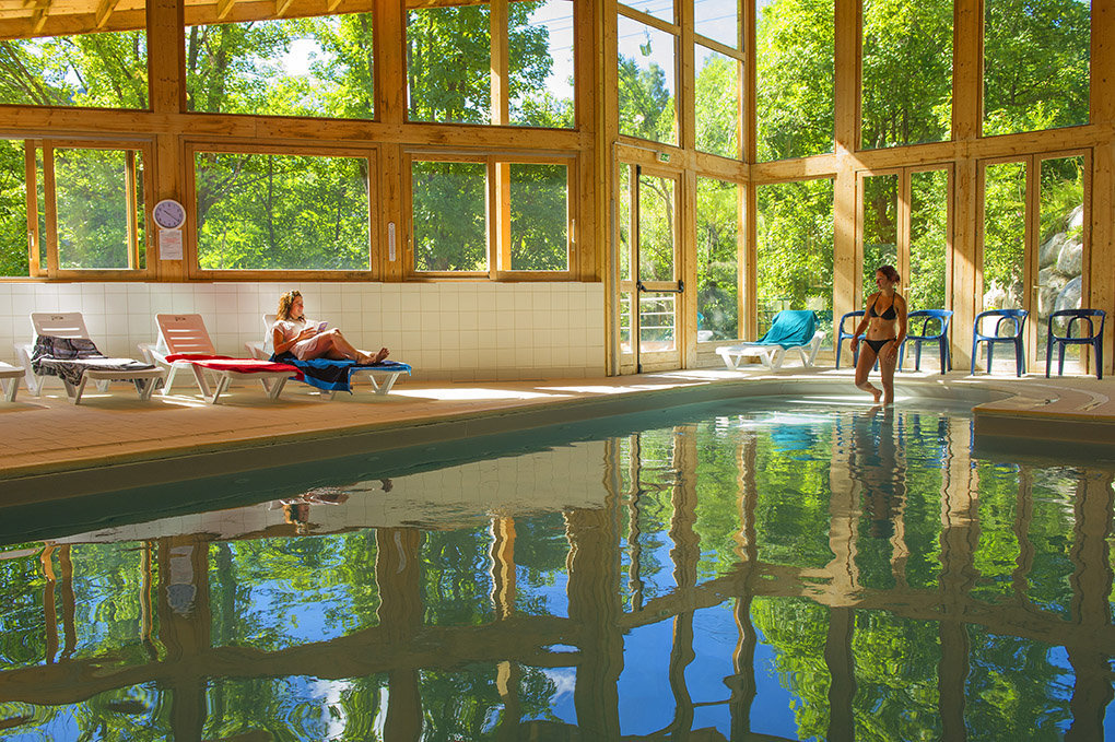 the heated swimming pool at Le Balcon des Neiges Goélia holiday complex in St Sorlin d'Arves